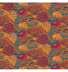 Seamless pattern with ornamental chameleons vector