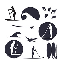 Stand up paddling silhouette icon set in vector