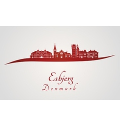 Esbjerg skyline in red and gray background in vector