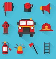 Fireman set of firefighting equipment vector