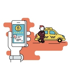 Booking taxi via mobile app vector
