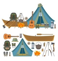 Set of camping objects and tools isolated vector