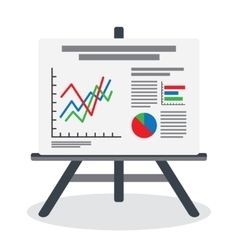 Flipchart whiteboard screen with marketing data vector