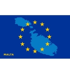 Flag of european union with malta on background vector