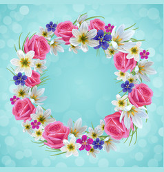 beautiful floral wreath vector image vector image