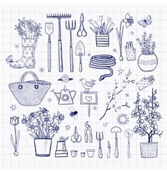 Big set of hand-drawn sketch garden elements vector image vector image