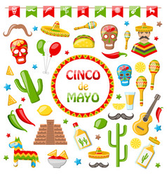 Collection of mexican icons isolated on white vector