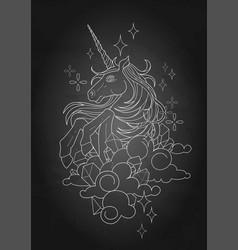 Cute graphic unicorn vector