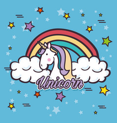 Cute unicorn pop art vector