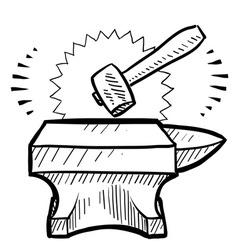doodle anvil hammer vector image