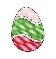 Drawing happy easter egg decoration ornament vector