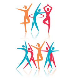 Fitness dance women icons vector