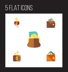 flat icon billfold set of payment currency pouch vector image