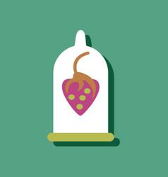Flat icon design strawberry condom silhouette in vector