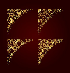 Golden ornamental calligraphic corners vector