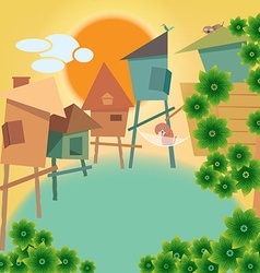 Greeting card with small village and animal vector image vector image