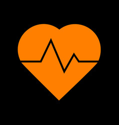 heartbeat sign orange icon on black vector image
