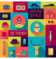 Hipster background in flat design style vector