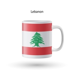 Lebanon flag souvenir mug on white background vector