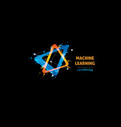 Machine learning logo light bulb abstract vector