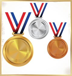 Medals gold silver and bronze vector