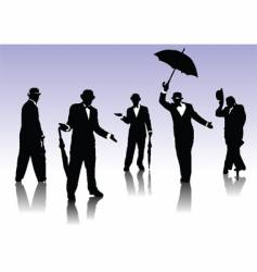 men silhouettes with umbrella vector image vector image