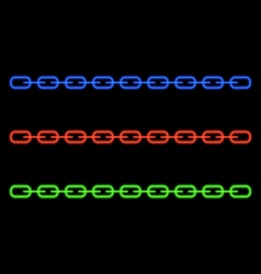 Neon glowing chain on a black background vector