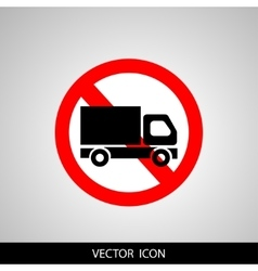 No truck forbidden sign symbol on white background vector image vector image