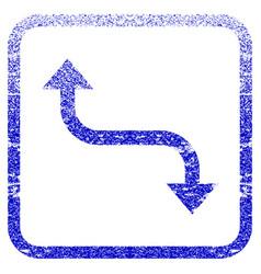 Opposite bend arrow framed textured icon vector