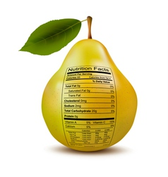 Pear with nutrition facts label Concept of healthy vector image vector image