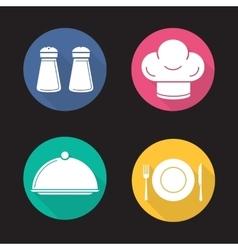 Restaurant kitchen items icons vector