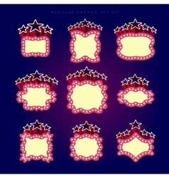 Retro illuminated movie marquee set vector image
