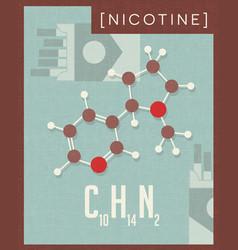 Retro poster of nicotine molecule found in tobacco vector