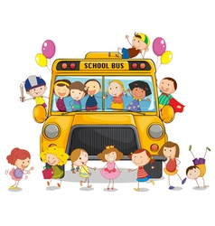 School bus kids vector