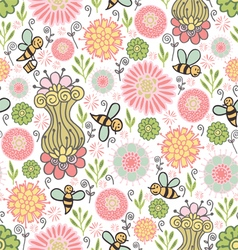 seamless pattern with nature vector image vector image