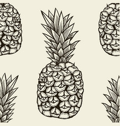 seamless pattern with pineapple vector image vector image