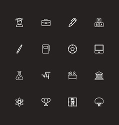 set of 16 editable science outline icons includes vector image vector image