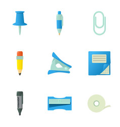 stationery icons set cartoon style vector image vector image