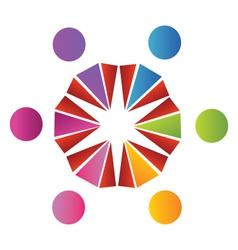 Teamwork cultural logo vector image vector image