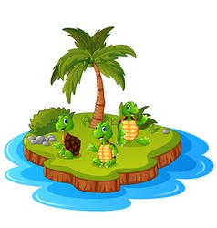Tropical island with turtle vector image vector image