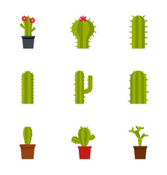 types of cactus icon set flat style vector image vector image