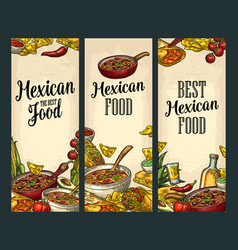 Vertical poster with mexican traditional food and vector