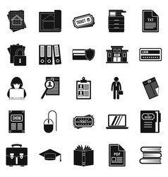 Writing icons set simple style vector