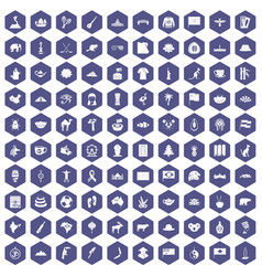 100 landmarks icons hexagon purple vector image vector image