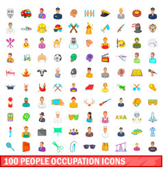 100 people occupation icons set cartoon style vector