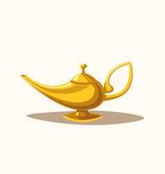 Golden magic lamp Fable Cartoon vector image