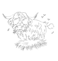 Cartoon image of hairy cow farting vector