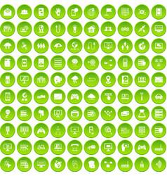 100 network icons set green circle vector image