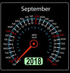 year 2018 calendar speedometer car in concept vector image