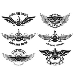 Set of airplane show labels emblems with wings vector